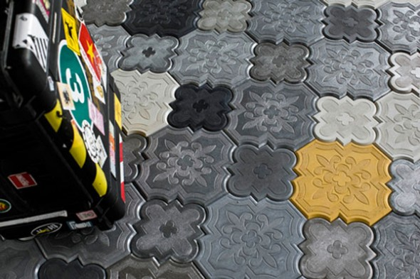 Uniquely shaped and fitting together like a puzzle, these tiles are surprisingly also fun and colorful by Ivanka