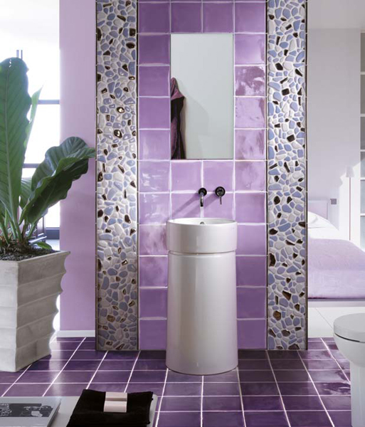 beautifully purple tiled bathroom