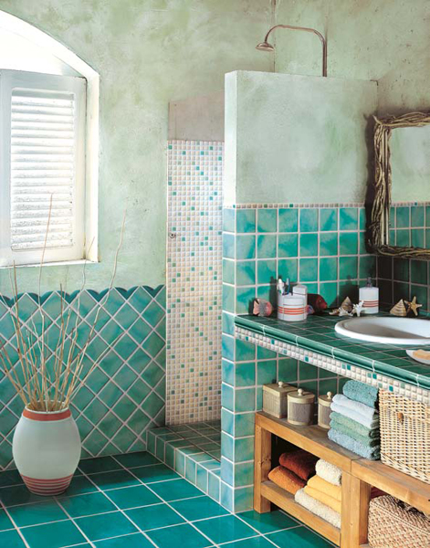 beautifully tiled bathroom, country style