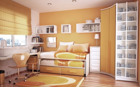 orange and white room layout