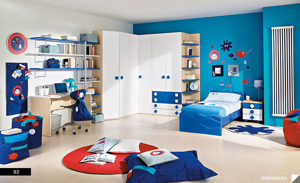 red white kids bedroom