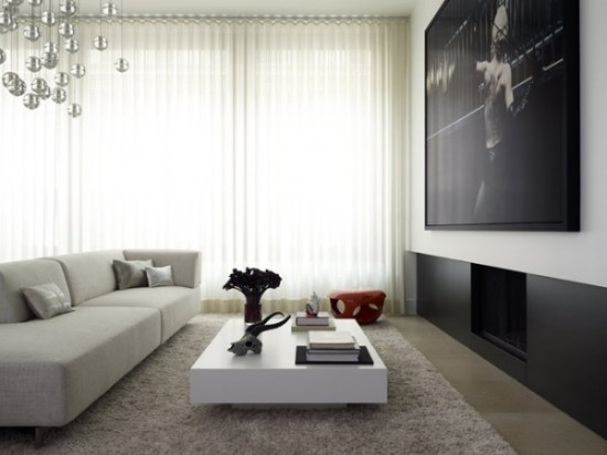 Black and White spacious and comfy living room