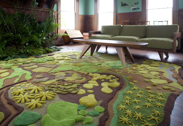 Living Room With Nature Themed Forest Carpet From Angela Adams Design