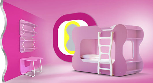 Futuristic Neoset Pink Bedroom Design by Karim Rashid