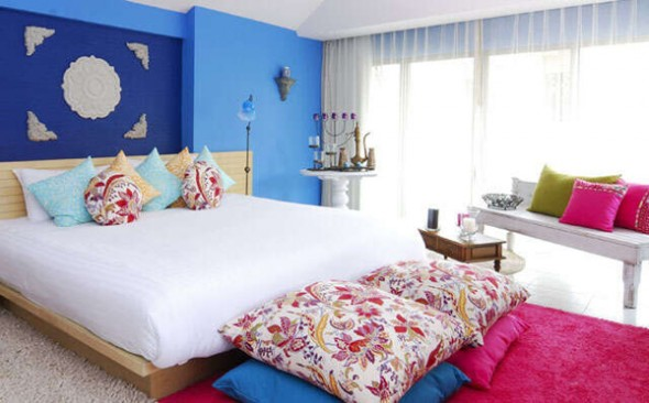 Add Strong Accents stylish blue bedroom