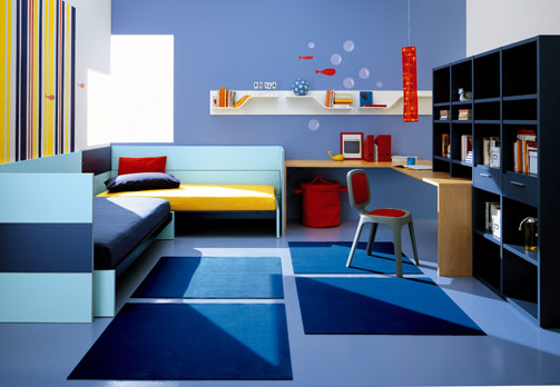Modern Kids Bedroom Furniture With Blue Colors