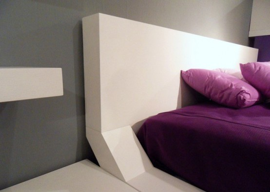 Modern bedroom Decorating with original wall shelves interior Ideas02