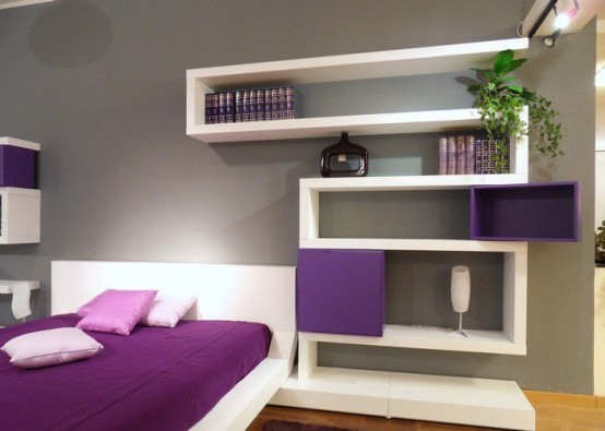 Modern bedroom Decorating with original wall shelves interior Ideas03