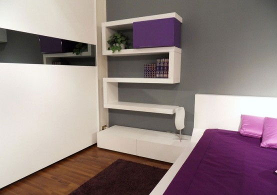 Modern bedroom Decorating with original wall shelves interior Ideas04