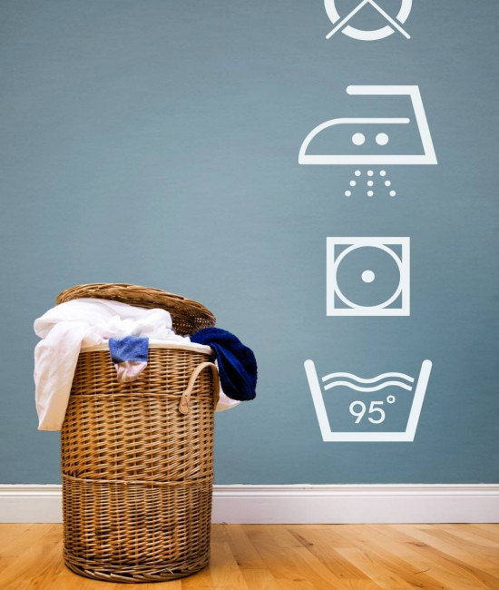 Trendy wall stickers laundry icons