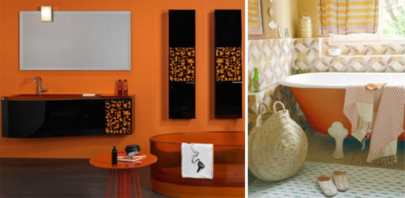 orange bathroom interior design ideas
