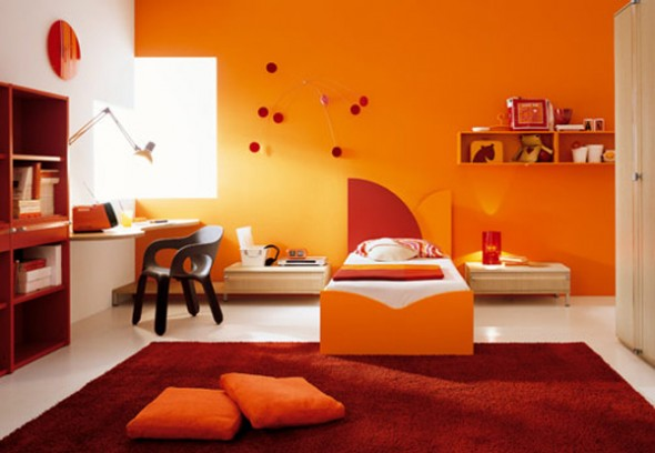 orange bedroom interior design ideas