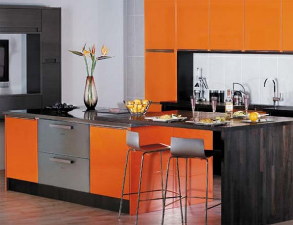 orange kitchen interior design ideas