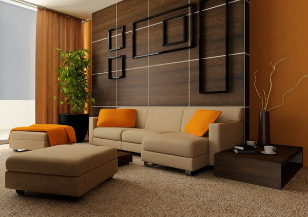 Orange Living Room Interior Design Ideas With Carpet