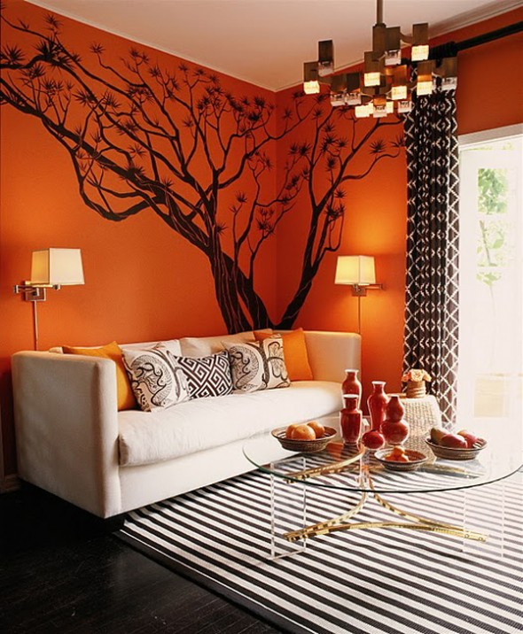 orange reception interior design ideas