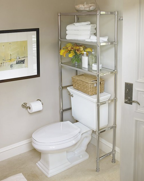shelves above the toilet