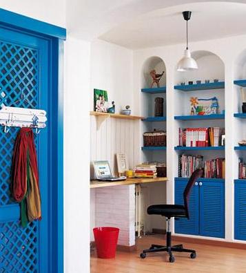 small home office in blue white