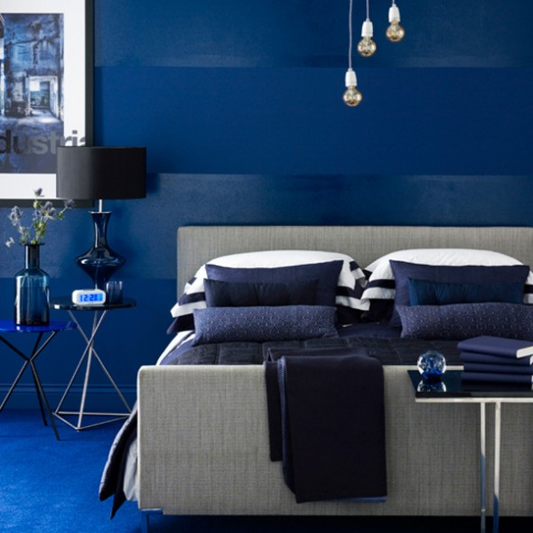 stylish blue color schemes for bedroom interior15
