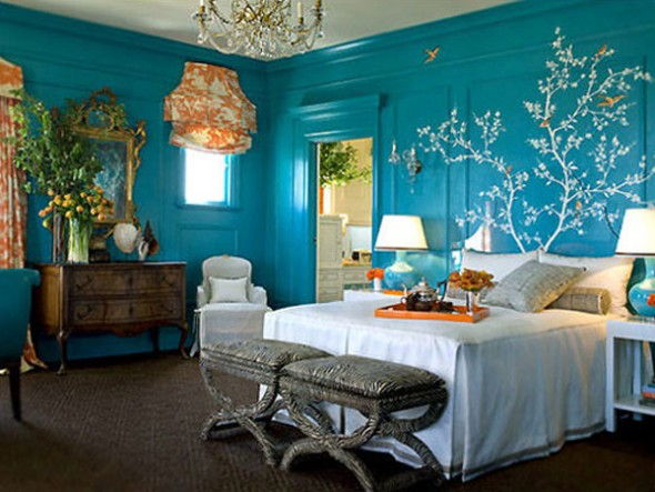 stylish blue color schemes for bedroom interior17
