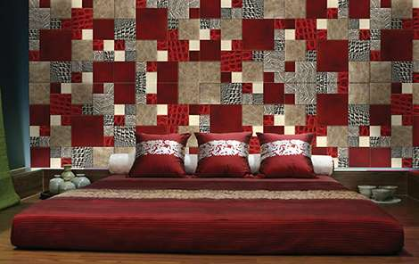 wall cover lether skin mosaic asian bedroom