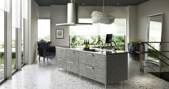 Black Kitchen Island and lighting