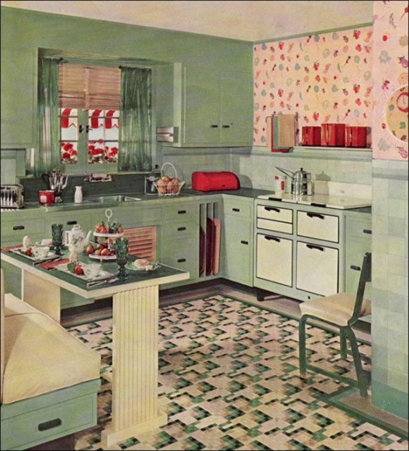 Contemporary Decorating Retro Kitchen Design