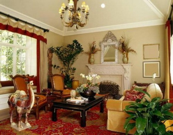 Eclectic Decorating-The Eastern influence adds a jolt of interest to the traditional living room