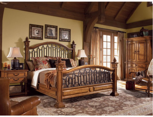 Traditional home decorating for Wooden bed interior design