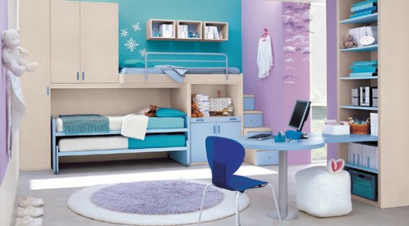 colour wheel interior kids bed room design