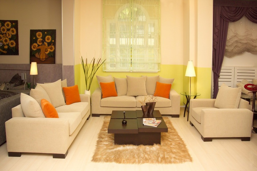contemporary Decorating living room gains warmth from natural fibers and color
