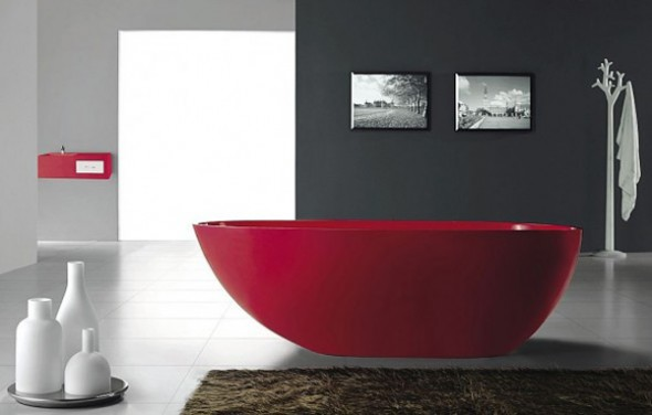 unusual red bathtubs