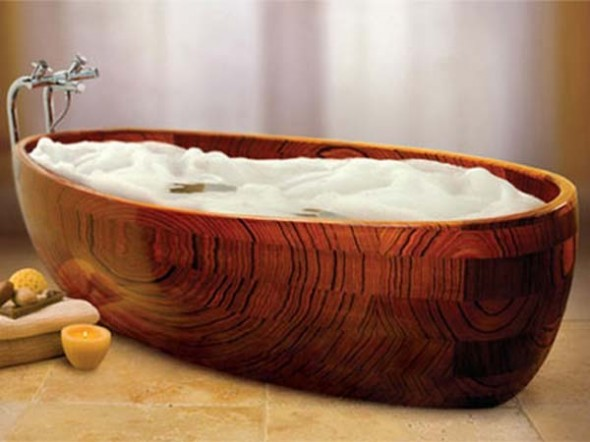 unusual wooden bathtubs