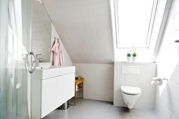 white interior design bathroom with table