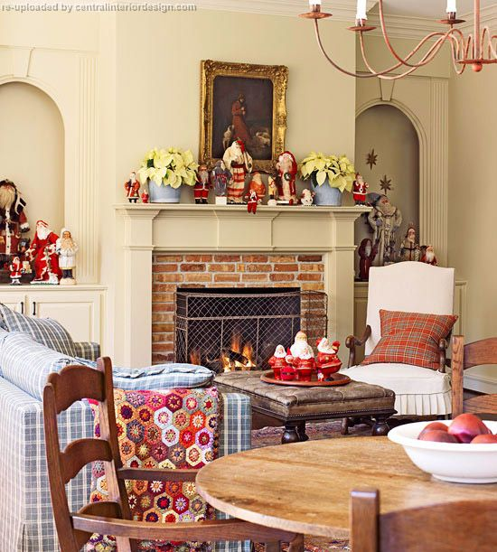 Christmas living room design with fireplace
