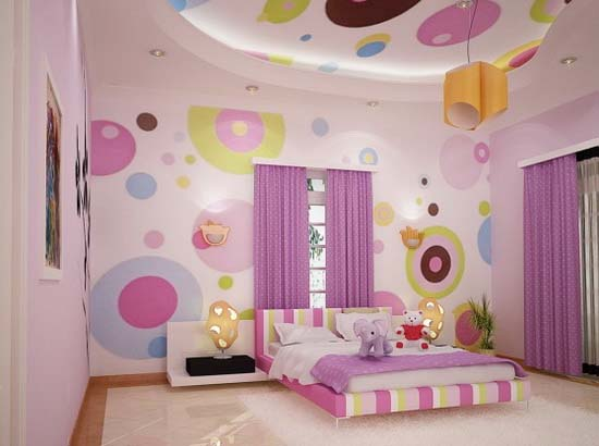 Circle dot wall art for teen bedroom