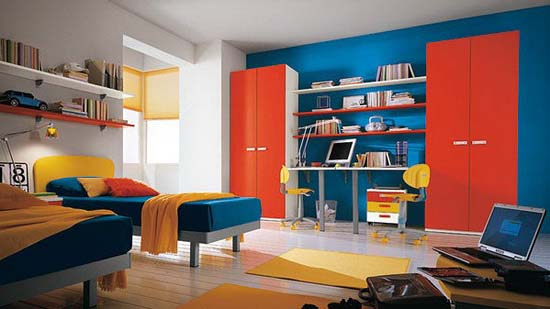 Colorful bedroom for two teen boys