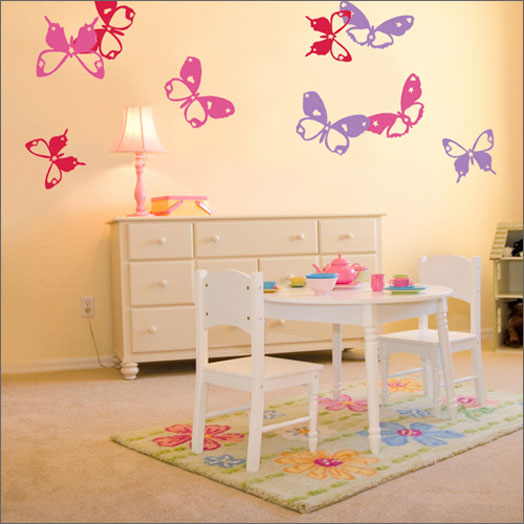 Cute small butterflies on the wall for Bedroom