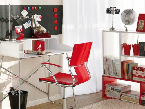 Decorating Red White Home Office Design