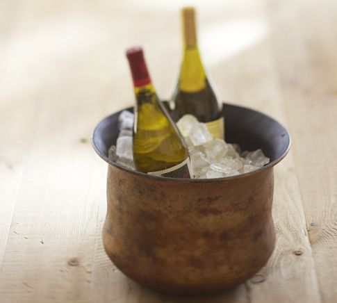 Distressed Gold Wine Bucket Christmas Decorations