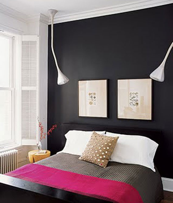 Gentle black wall paint home interior design - Black painted bedroom walls ...