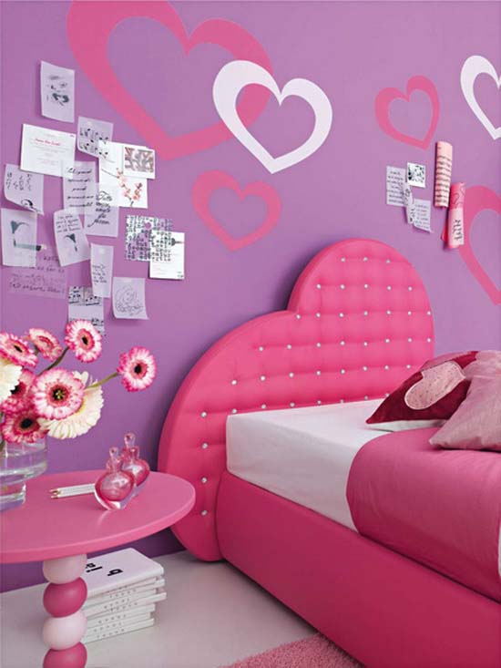 Heart Furnishing Accent On The Wall And Headboard