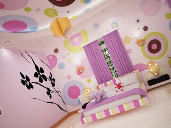 Interior colorful girls bedroom with flower wall mural