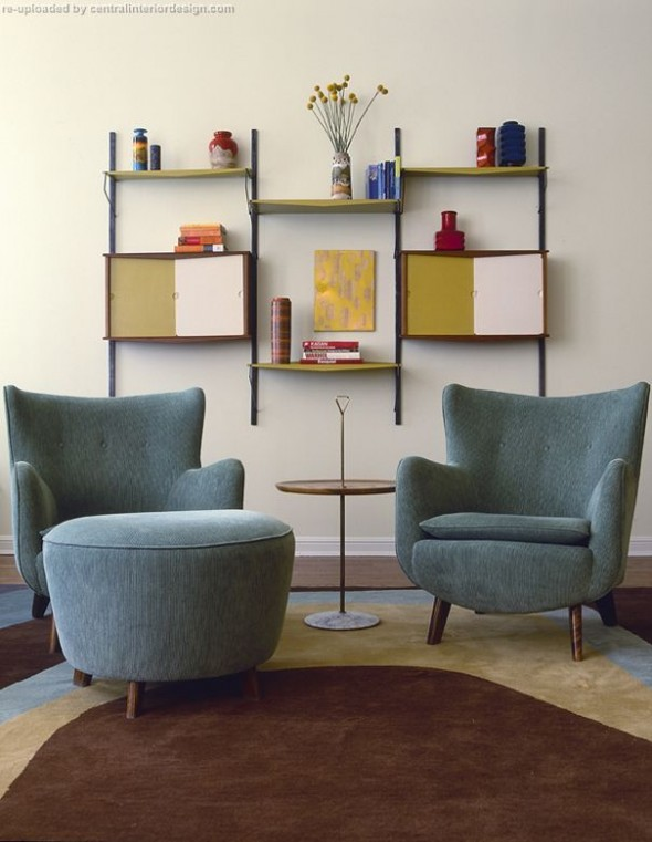 Living Room, Two Chairs, Rug, Sidetable by Amy Lau Design