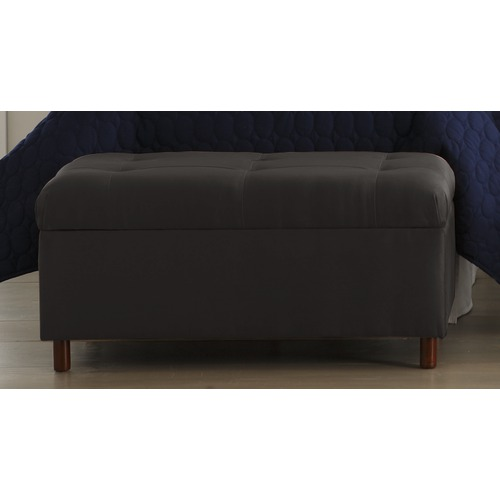 MicroSuede Storage Bench in Black Furniture2