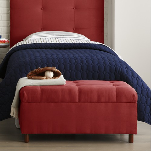 MicroSuede Storage Bench in Red
