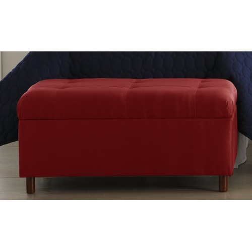 MicroSuede Storage Bench in Red3