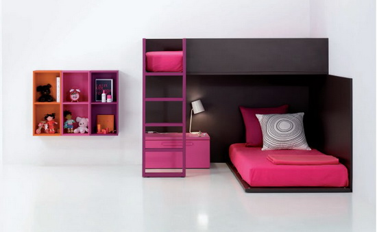 Minimalist and funny black and pink kids Bedroom