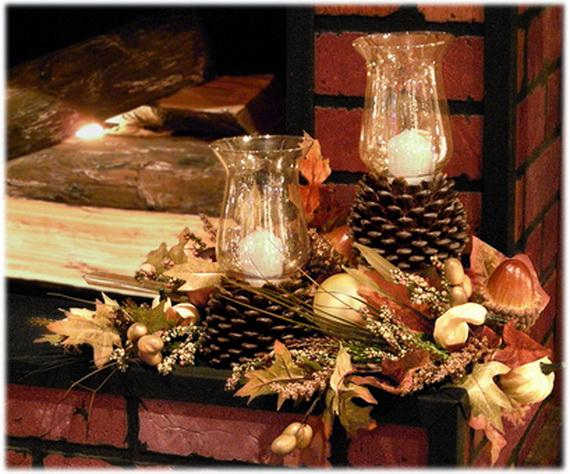 Pine Cones And Candles Arrangement1