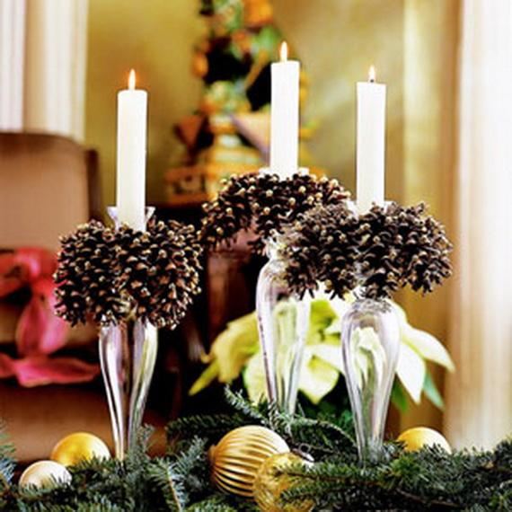 Pine Cones And Candles Arrangement4