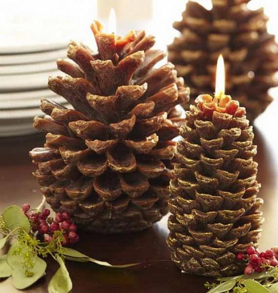 Pine Cones And Candles Arrangement6
